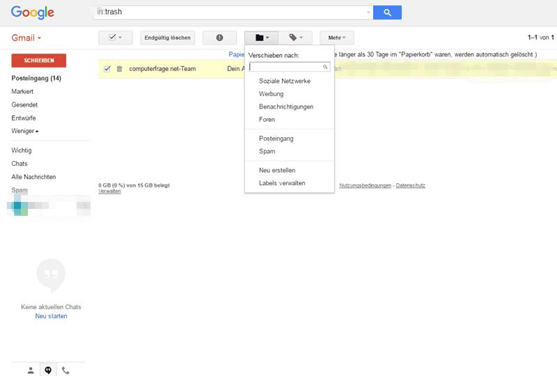 Endgültig gelöschte mails wiederherstellen googlemail