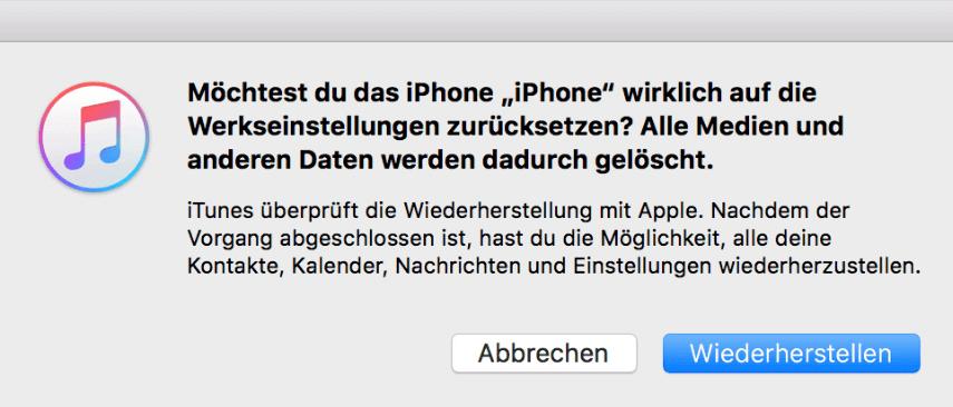 Iphone 5 hängt bei wiederherstellung