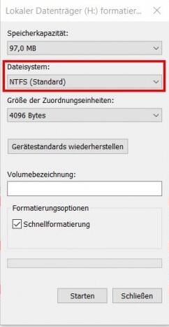 RAW in NTFS konvertieren- im Windows Explorer