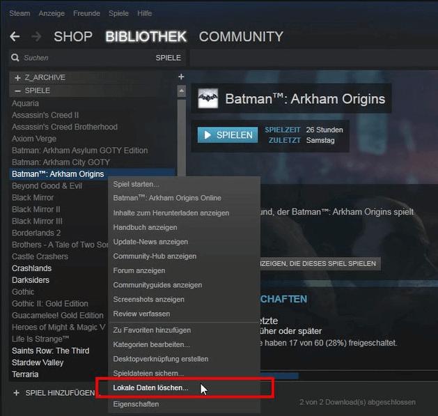 Steam Spiel Deinstallieren