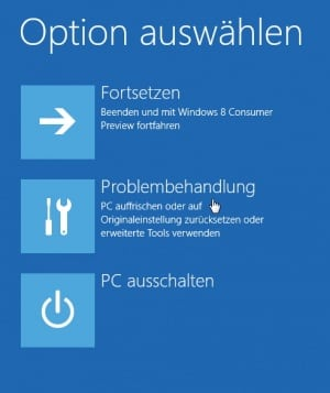 windows Boot Option auswählen