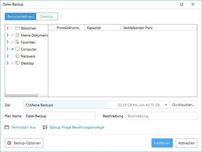 Datei Backup mit EaseUS Todo Backup